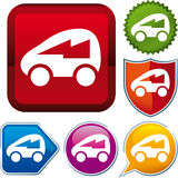Icon electric car. Vector icon illustration of electric car over diverse buttons Royalty Free Stock Images