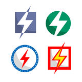 Icon electricity in different colors. Four icons Royalty Free Stock Photos