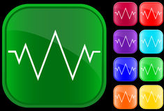 Icon of an electrocardiogram. On shiny buttons Stock Illustration