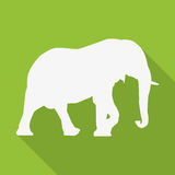 Icon elephant in white on a green background in a flat design Stock Photo