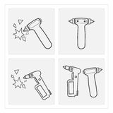 Icon Emergency Hammer dangerous smash broken sets Royalty Free Stock Image
