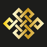 Icon endless knot in gold. Buddhist symbol Stock Photography