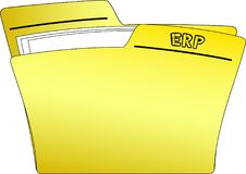 Icon ERP Folder - Vector. The icon of a yellow folder containing some documents and the write ERP sketched on it - vector Stock Photo