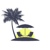 Icon the evening beach in tropics. Royalty Free Stock Photography