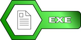 Hexagonal icon for EXE files - vector royalty free illustration