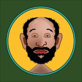 The icon with the face of a bearded man in flat royalty free illustration