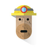 Icon face dirty miner with helmet Stock Photo