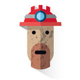 Icon face dirty miner with helmet Royalty Free Stock Photography