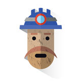 Icon face dirty miner with helmet Stock Image