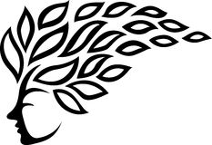 Icon face and leaf tattoo isolated on white background Royalty Free Stock Image