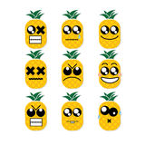 Icon face pineapple Stock Image