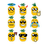 Icon face pineapple Stock Images