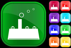 Icon of factory. On shiny square buttons Vector Illustration
