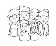 Icon family daddy mama doughtier son granddad grandmother line. Vector illustration Royalty Free Stock Photography