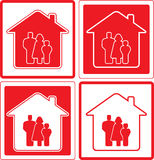 Icon with family and home silhouette Royalty Free Stock Photos