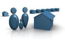Icon Family House. 3d rendered image of a family, a man, woman and child with houses. Mac/Windows XP/Vista Icon look Stock Image