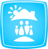 Icon with family, house and sun Royalty Free Stock Photos