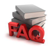 Icon of FAQ with books behind. 3D image royalty free illustration