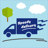 Icon of Fast delivery. The business. Car on blue background vector illustration