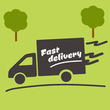 Icon of Fast delivery. The business. Car on green background stock illustration