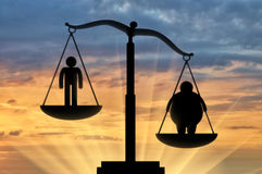 Icon fat man outweighed normal in scales on sunset Royalty Free Stock Images