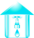 Icon with faucet in house Stock Image