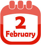 Icon February 2 calendar Royalty Free Stock Photo