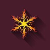 Icon fiery snowflakes. With shadow Royalty Free Stock Images