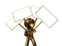 icon figure with blank message board Stock Photography