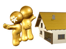 icon figure on new house. Icon figure on the move 3d illustration Royalty Free Stock Image