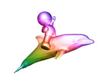 icon figure riding dolphin. Icon figure on the move 3d illustration Stock Photography