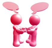 Icon figures enjoy chatting with comic balloons. 3d illustration Royalty Free Stock Images