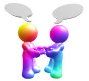 Icon figures enjoy chatting with comic balloons. 3d illustration Royalty Free Stock Photos