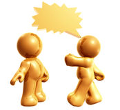 Icon figures enjoy chatting with comic balloons. 3d illustration Stock Images