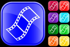 Icon of film. On shiny square buttons Stock Photo
