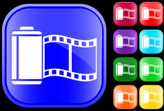 Icon of film. On shiny square buttons Vector Illustration
