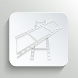 Icon of film on the button with shadow Royalty Free Stock Images