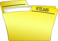Icon Films Folder - Vector. The icon of a yellow folder containing some documents and having the write FILMS - vector vector illustration