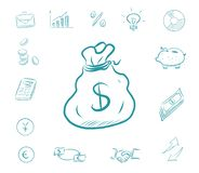 Icon finance set - money bag. Business icons with biggy bank, calculator, charts. Exchange dollars and euros. Businessman handshake, idea bulb, arrows up and royalty free illustration