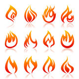 Icon fire. Set of icons of fire. A vector illustration Stock Photo