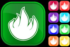 Icon of fire. On shiny square buttons Vector Illustration