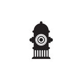 Icon fire hydrant. Single silhouette fire equipment icon. Vector illustration. Flat style. Royalty Free Stock Photography