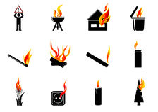 Icon fire. A set of icons fire, a sign the danger and objects provoking the fire Royalty Free Stock Photos