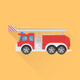 Icon of the fire truck. On the isolated background. A vector illustration in flat style Stock Photos