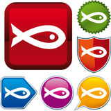 Icon fish. Vector icon illustration of fish over diverse buttons Royalty Free Stock Photography