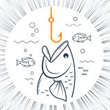 Icon fishing linear style. Concept of fishing in the form of a fishing hook and a fish with an open mouth. Icon in the linear style Stock Image