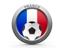 Icon - Flag of France with football. Emblem - Flag of France with fotball - on white, represents Euro 2016 - France football championship, three-dimensional vector illustration
