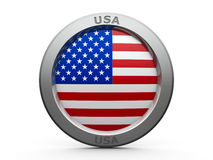 Icon - Flag of USA. Emblem - Flag of USA - isolated on white, three-dimensional rendering, 3D illustration Royalty Free Stock Images