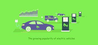 Icon Flat Growing Popularity Electric Vehicles. Icon flat development and growing popularity electric vehicles. Power technology, energy and electricity Royalty Free Stock Photo