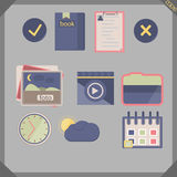 Icon flat pen 3. Flat icon set for phone, pc, sate Royalty Free Stock Images